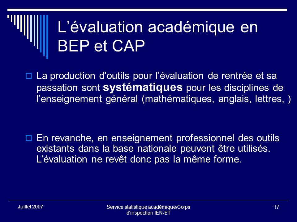 Service statistique académique/Corps d'inspection IEN-ET 17 Juillet 2007 Lévaluation académique en BEP et CAP La production doutils pour lévaluation d