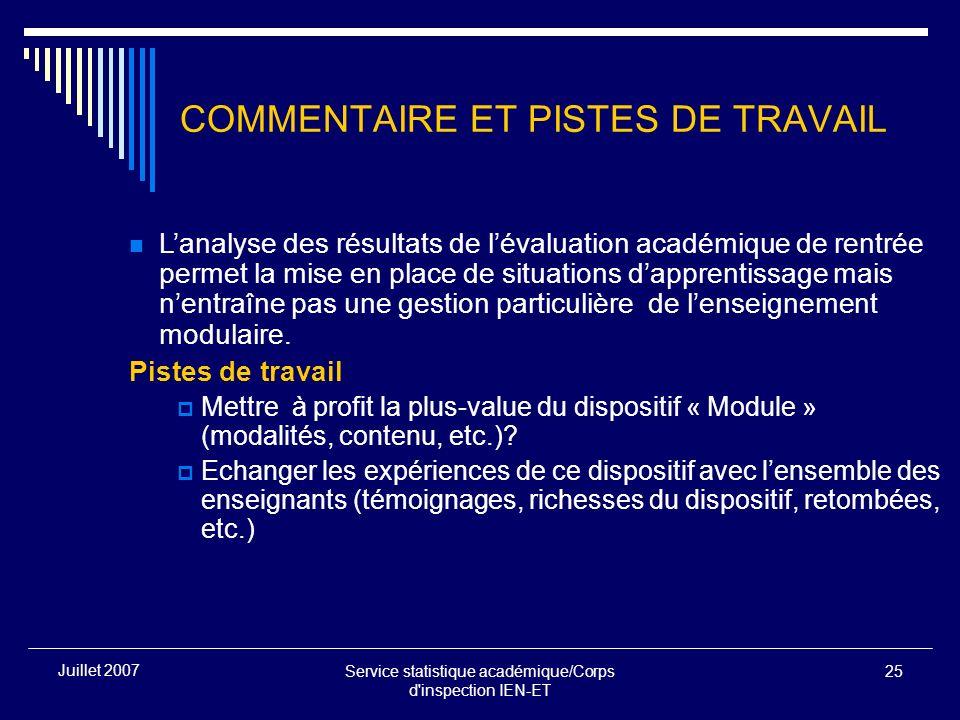 Service statistique académique/Corps d'inspection IEN-ET 25 Juillet 2007 COMMENTAIRE ET PISTES DE TRAVAIL Lanalyse des résultats de lévaluation académ