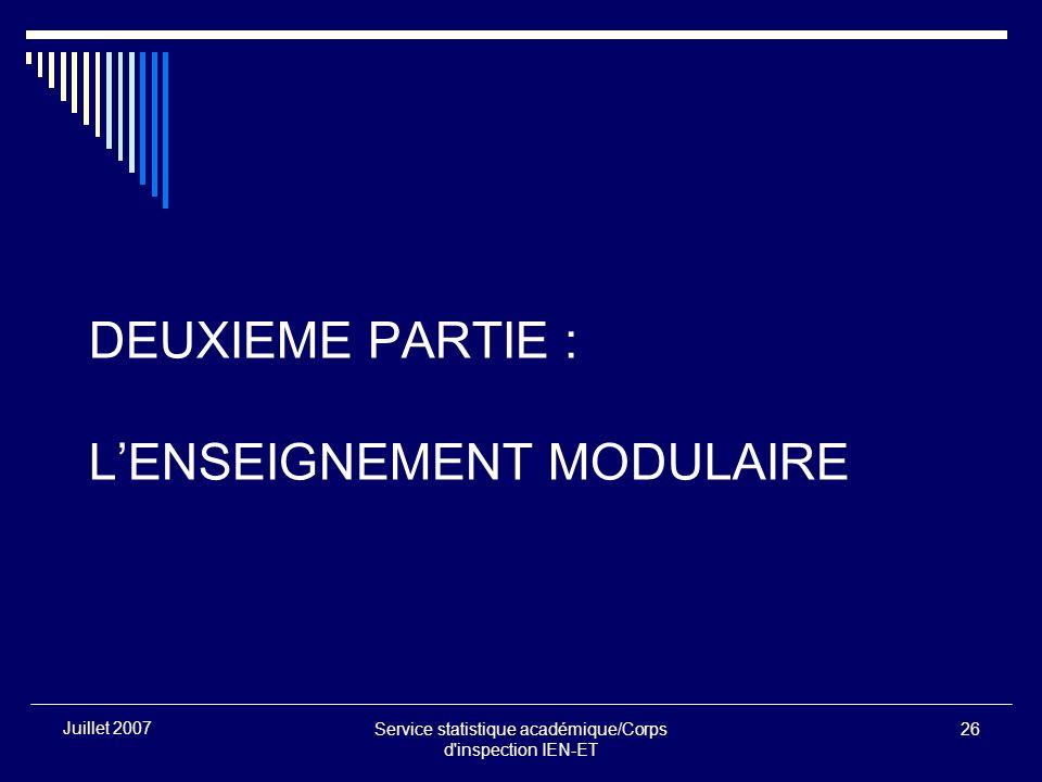 Service statistique académique/Corps d inspection IEN-ET 26 Juillet 2007 DEUXIEME PARTIE : LENSEIGNEMENT MODULAIRE