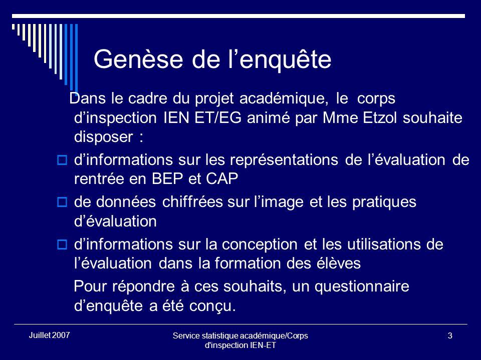 Service statistique académique/Corps d'inspection IEN-ET 3 Juillet 2007 Genèse de lenquête Dans le cadre du projet académique, le corps dinspection IE