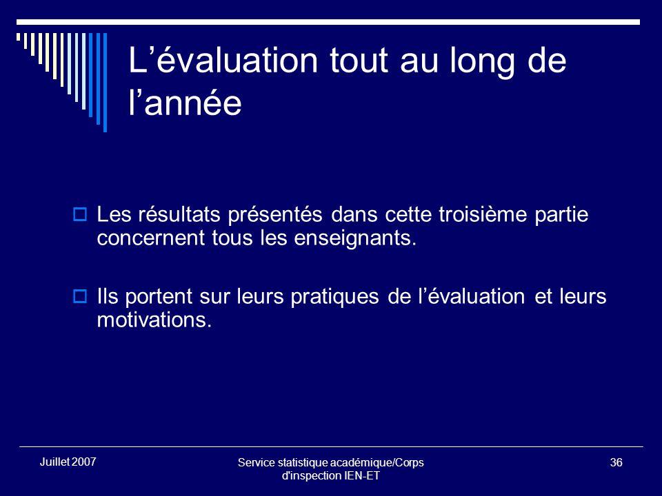 Service statistique académique/Corps d inspection IEN-ET 36 Juillet 2007 Lévaluation tout au long de lannée Les résultats présentés dans cette troisième partie concernent tous les enseignants.