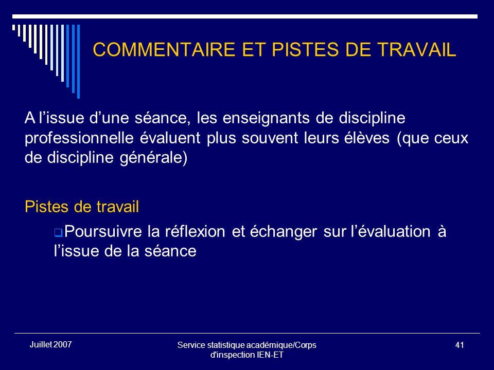 Service statistique académique/Corps d'inspection IEN-ET 41 Juillet 2007 COMMENTAIRE ET PISTES DE TRAVAIL A lissue dune séance, les enseignants de dis