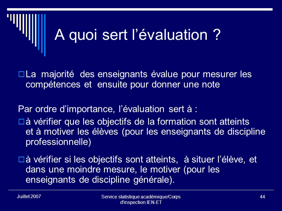Service statistique académique/Corps d inspection IEN-ET 44 Juillet 2007 A quoi sert lévaluation .