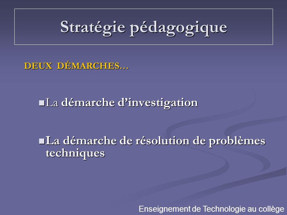Stratégie pédagogique DEUX DÉMARCHES… La démarche dinvestigation La démarche dinvestigation La démarche de résolution de problèmes techniques La démar