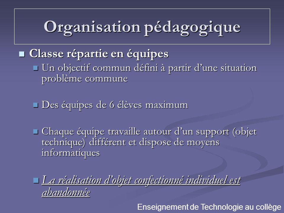 Organisation pédagogique Classe répartie en équipes Classe répartie en équipes Un objectif commun défini à partir dune situation problème commune Un o