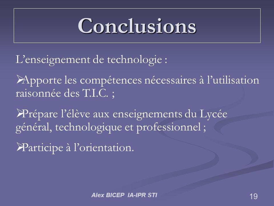 Alex BICEP IA-IPR STI 19 Conclusions Lenseignement de technologie : Apporte les compétences nécessaires à lutilisation raisonnée des T.I.C. ; Prépare