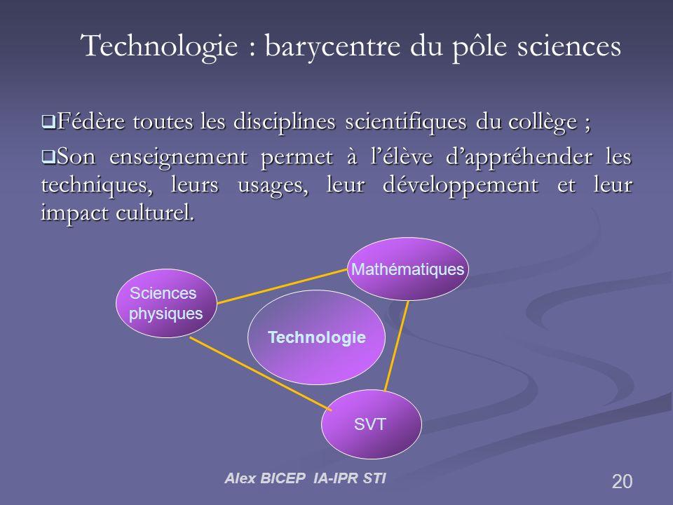Alex BICEP IA-IPR STI 20 Technologie : barycentre du pôle sciences Fédère toutes les disciplines scientifiques du collège ; Fédère toutes les discipli