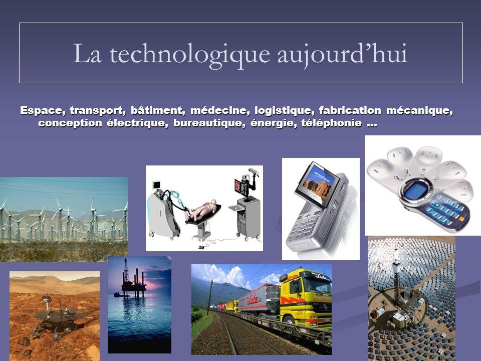 Espace, transport, bâtiment, médecine, logistique, fabrication mécanique, conception électrique, bureautique, énergie, téléphonie … La technologique a