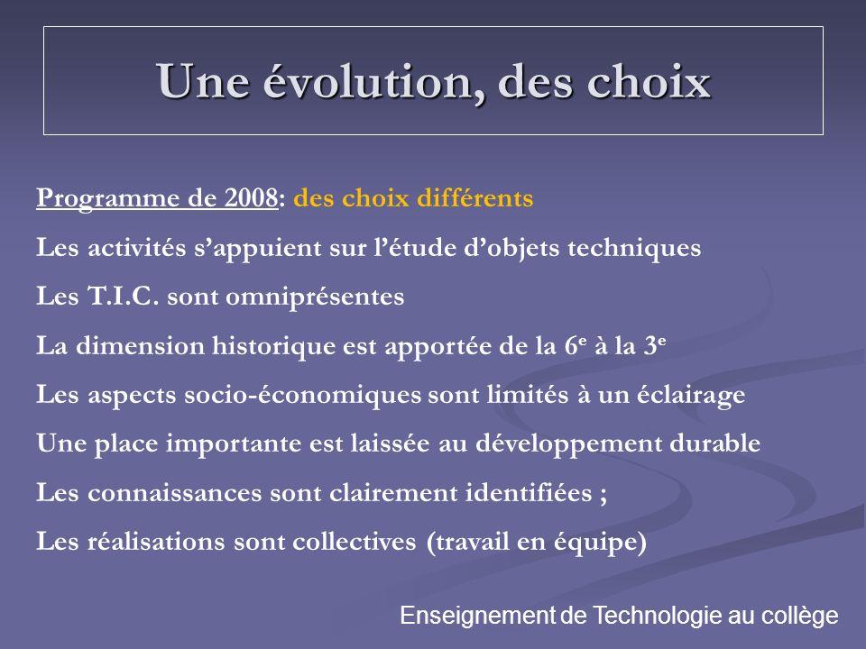 Une évolution, des choix Programme de 2008: des choix différents Les activités sappuient sur létude dobjets techniques Les T.I.C. sont omniprésentes L
