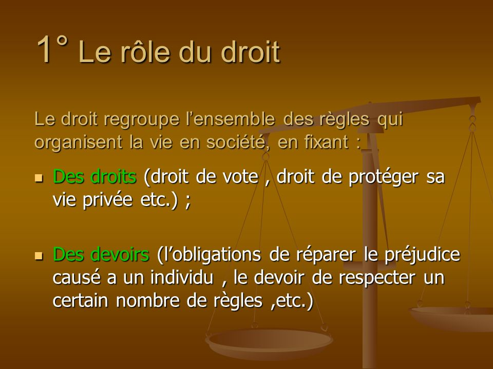 1° Le rôle du droit Le droit regroupe lensemble des règles qui organisent la vie en société, en fixant : Des droits (droit de vote, droit de protéger