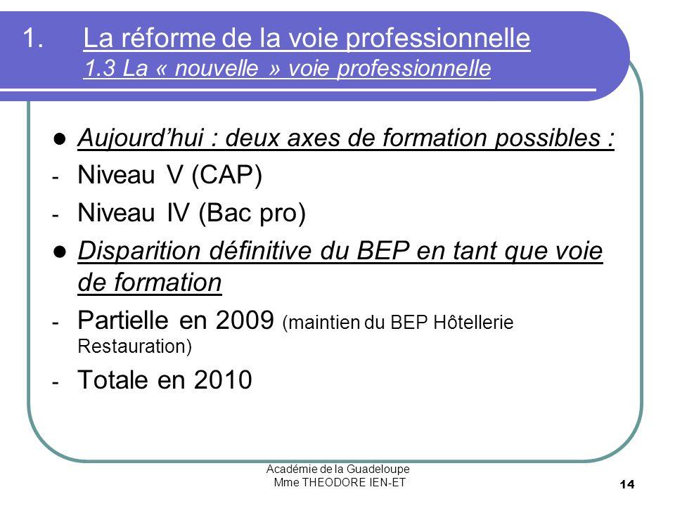 Académie de la Guadeloupe Mme THEODORE IEN-ET 14 1.La réforme de la voie professionnelle 1.3 La « nouvelle » voie professionnelle Aujourdhui : deux axes de formation possibles : - Niveau V (CAP) - Niveau IV (Bac pro) Disparition définitive du BEP en tant que voie de formation - Partielle en 2009 (maintien du BEP Hôtellerie Restauration) - Totale en 2010