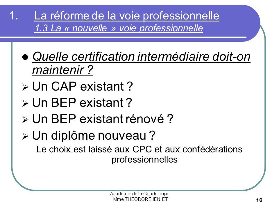 Académie de la Guadeloupe Mme THEODORE IEN-ET 16 1.La réforme de la voie professionnelle 1.3 La « nouvelle » voie professionnelle Quelle certification intermédiaire doit-on maintenir .