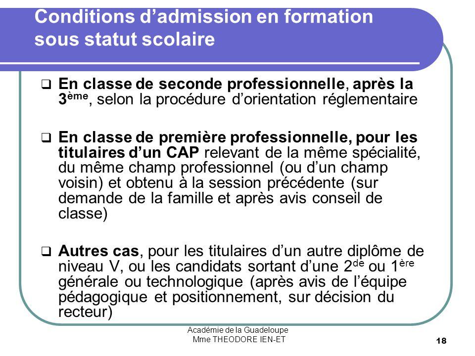 Académie de la Guadeloupe Mme THEODORE IEN-ET 18 Conditions dadmission en formation sous statut scolaire En classe de seconde professionnelle, après l