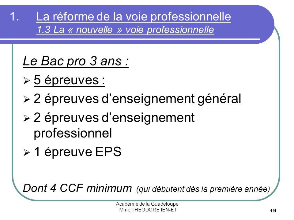 Académie de la Guadeloupe Mme THEODORE IEN-ET 19 1.La réforme de la voie professionnelle 1.3 La « nouvelle » voie professionnelle Le Bac pro 3 ans : 5