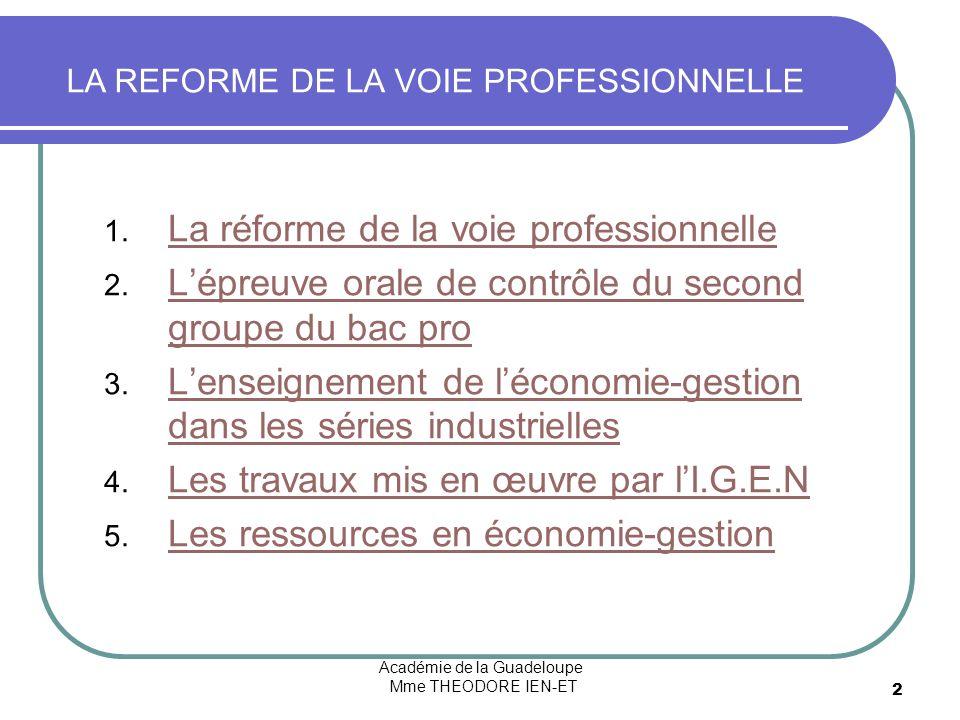 Académie de la Guadeloupe Mme THEODORE IEN-ET 2 1. La réforme de la voie professionnelle La réforme de la voie professionnelle 2. Lépreuve orale de co