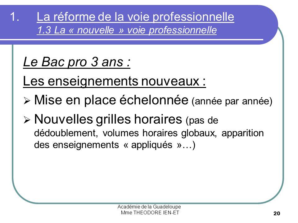 Académie de la Guadeloupe Mme THEODORE IEN-ET 20 1.La réforme de la voie professionnelle 1.3 La « nouvelle » voie professionnelle Le Bac pro 3 ans : L