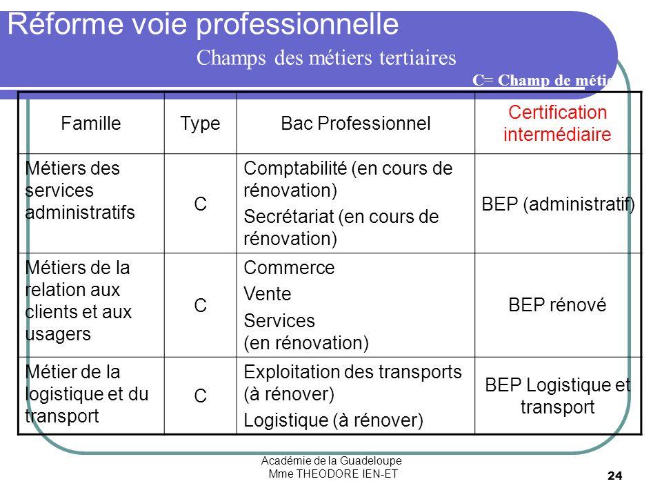 Académie de la Guadeloupe Mme THEODORE IEN-ET 24 Réforme voie professionnelle FamilleTypeBac Professionnel Certification intermédiaire Métiers des ser