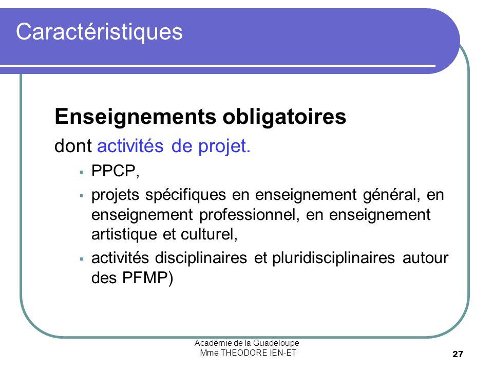 Académie de la Guadeloupe Mme THEODORE IEN-ET 27 Caractéristiques Enseignements obligatoires dont activités de projet. PPCP, projets spécifiques en en