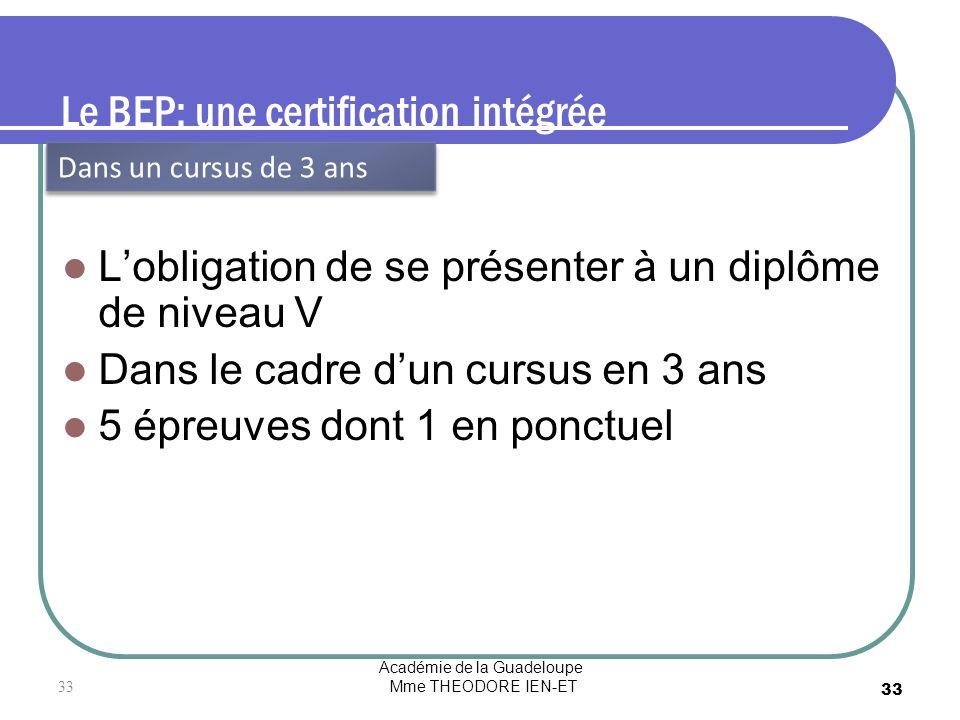 Académie de la Guadeloupe Mme THEODORE IEN-ET 33 Le BEP: une certification intégrée Lobligation de se présenter à un diplôme de niveau V Dans le cadre
