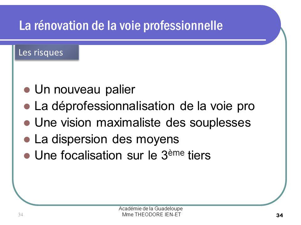 Académie de la Guadeloupe Mme THEODORE IEN-ET 34 La rénovation de la voie professionnelle Un nouveau palier La déprofessionnalisation de la voie pro U