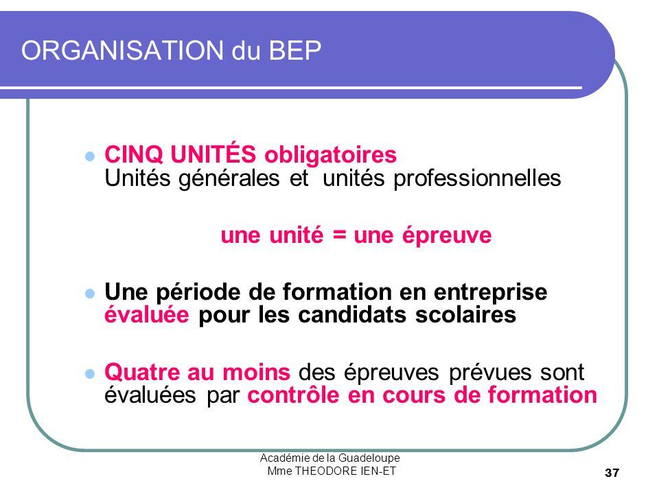 Académie de la Guadeloupe Mme THEODORE IEN-ET 37 ORGANISATION du BEP CINQ UNITÉS obligatoires Unités générales et unités professionnelles une unité =