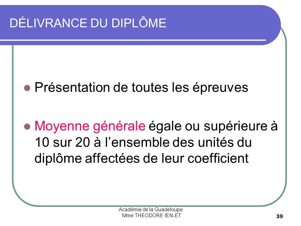 Académie de la Guadeloupe Mme THEODORE IEN-ET 39 DÉLIVRANCE DU DIPLÔME Présentation de toutes les épreuves Moyenne générale égale ou supérieure à 10 sur 20 à lensemble des unités du diplôme affectées de leur coefficient
