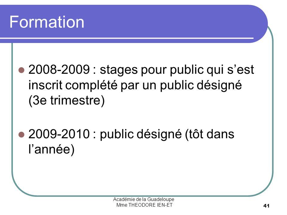 Académie de la Guadeloupe Mme THEODORE IEN-ET 41 Formation 2008-2009 : stages pour public qui sest inscrit complété par un public désigné (3e trimestre) 2009-2010 : public désigné (tôt dans lannée)