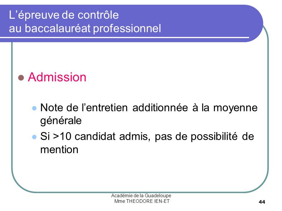 Académie de la Guadeloupe Mme THEODORE IEN-ET 44 Lépreuve de contrôle au baccalauréat professionnel Admission Note de lentretien additionnée à la moye