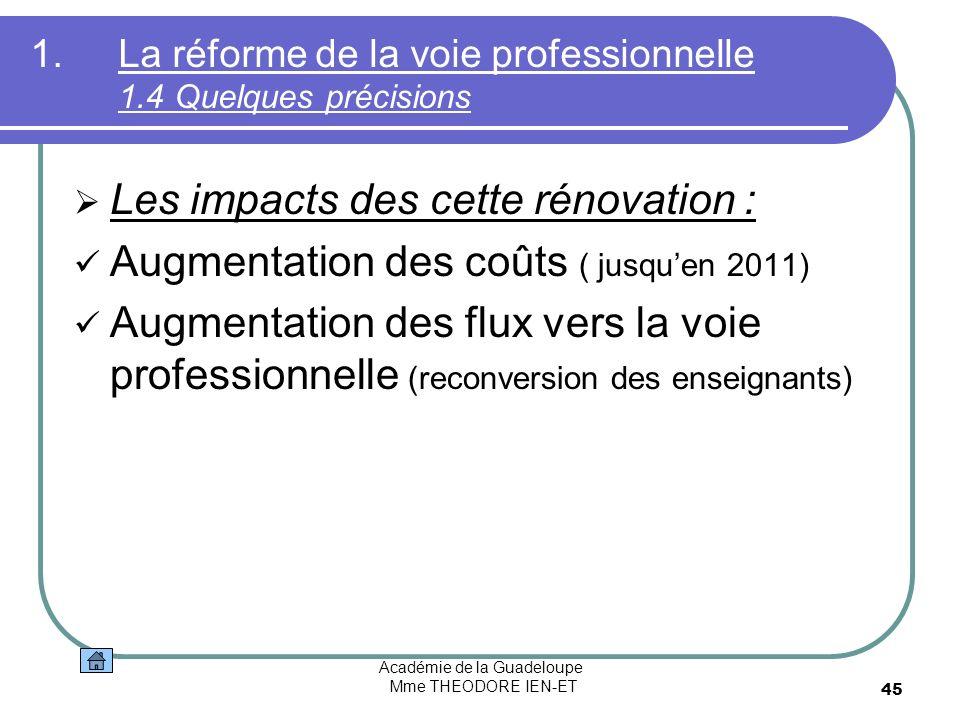 Académie de la Guadeloupe Mme THEODORE IEN-ET 45 1.La réforme de la voie professionnelle 1.4 Quelques précisions Les impacts des cette rénovation : Au