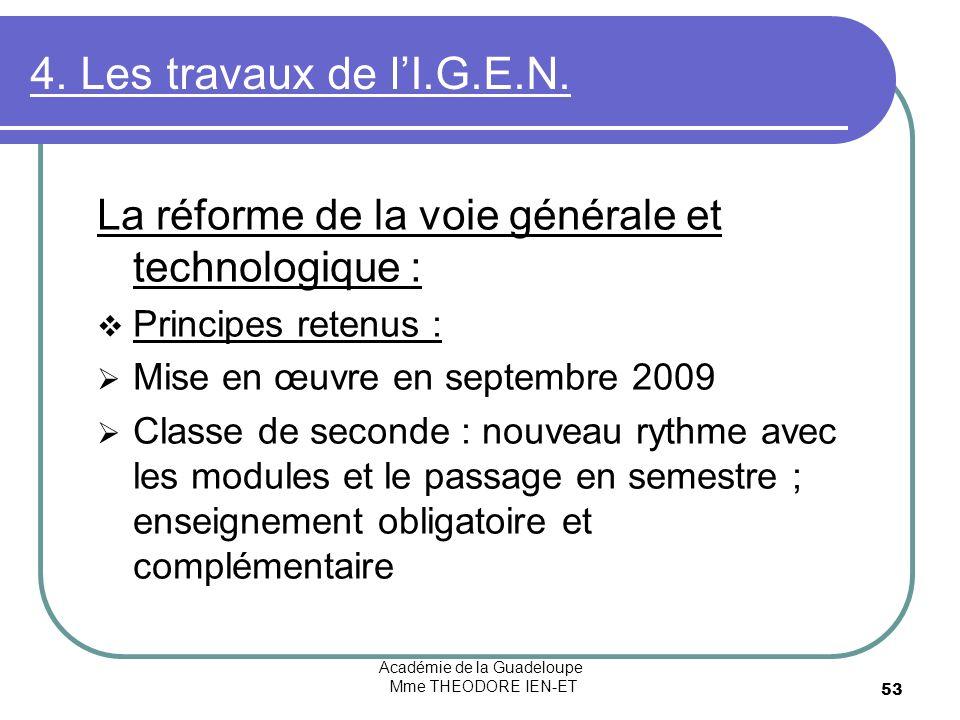 Académie de la Guadeloupe Mme THEODORE IEN-ET 53 4. Les travaux de lI.G.E.N. La réforme de la voie générale et technologique : Principes retenus : Mis