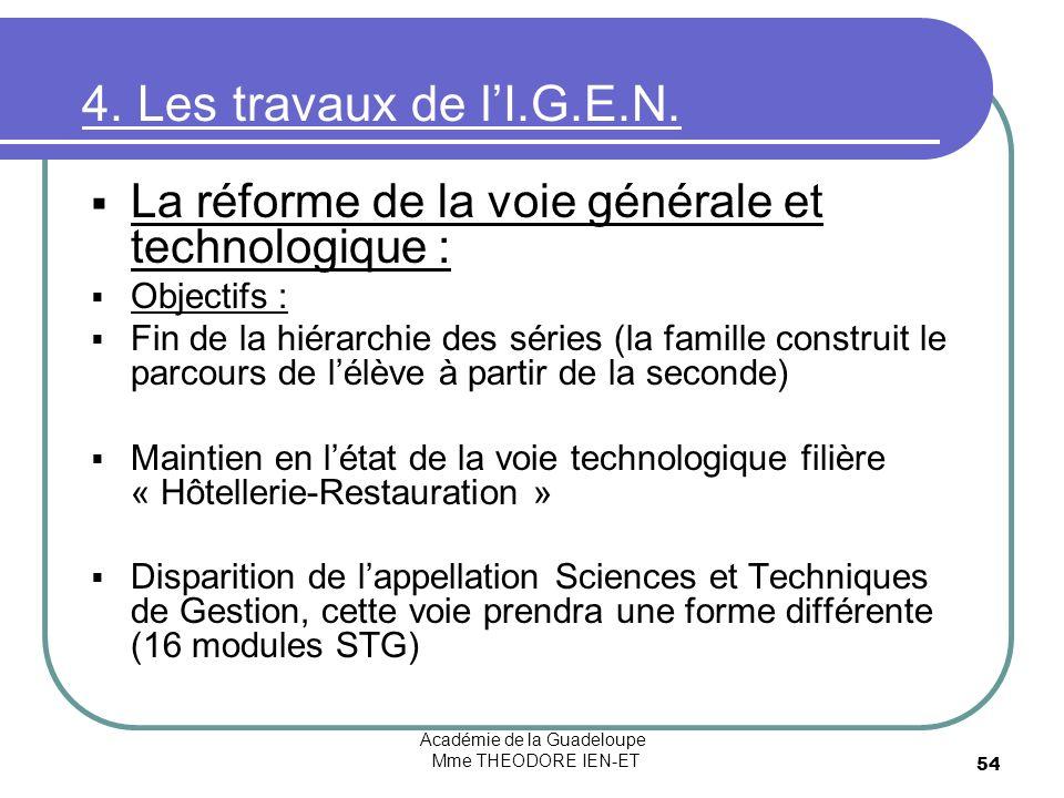 Académie de la Guadeloupe Mme THEODORE IEN-ET 54 4. Les travaux de lI.G.E.N. La réforme de la voie générale et technologique : Objectifs : Fin de la h