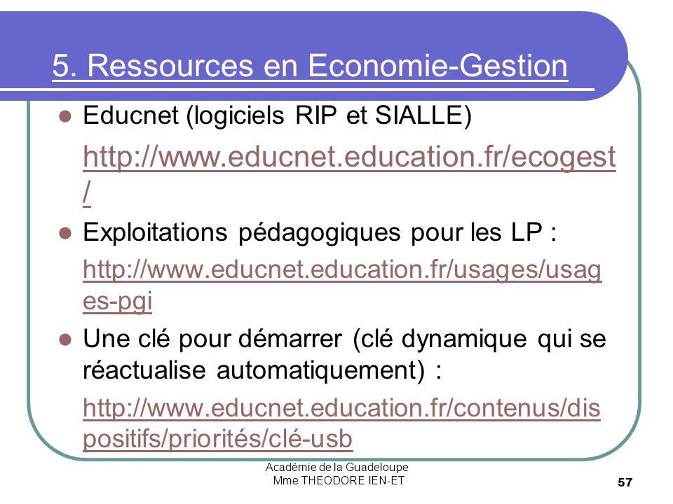 Académie de la Guadeloupe Mme THEODORE IEN-ET 57 5. Ressources en Economie-Gestion Educnet (logiciels RIP et SIALLE) http://www.educnet.education.fr/e