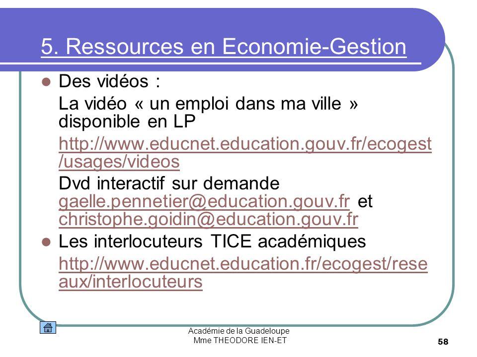 Académie de la Guadeloupe Mme THEODORE IEN-ET 58 5. Ressources en Economie-Gestion Des vidéos : La vidéo « un emploi dans ma ville » disponible en LP