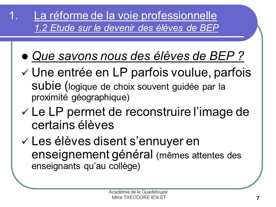 Académie de la Guadeloupe Mme THEODORE IEN-ET 7 1.La réforme de la voie professionnelle 1.2 Etude sur le devenir des élèves de BEP Que savons nous des élèves de BEP .