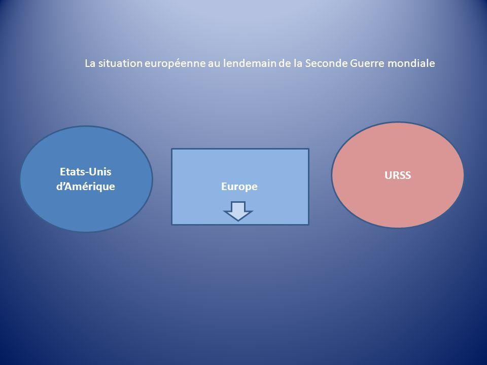 URSS Etats-Unis dAmérique Europe La situation européenne au lendemain de la Seconde Guerre mondiale