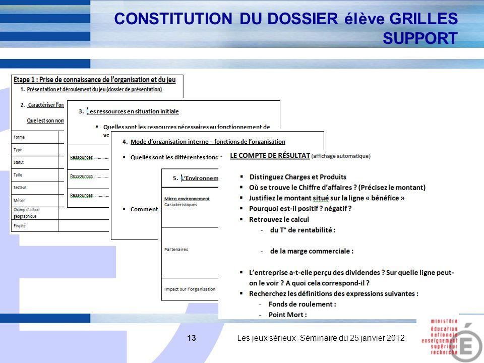 E 13 13 Les jeux sérieux -Séminaire du 25 janvier 2012 CONSTITUTION DU DOSSIER élève GRILLES SUPPORT