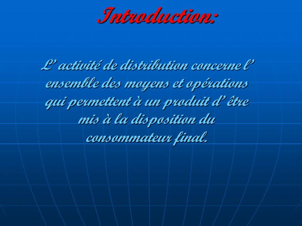 Introduction: L activité de distribution concerne l ensemble des moyens et opérations qui permettent à un produit d être mis à la disposition du conso