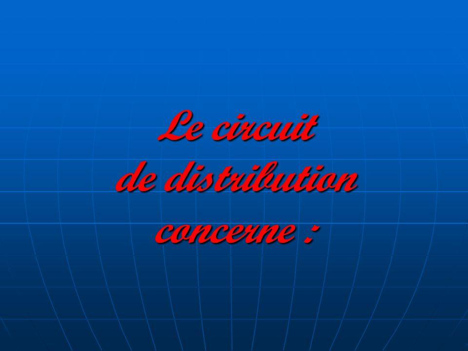 Le circuit de distribution concerne :