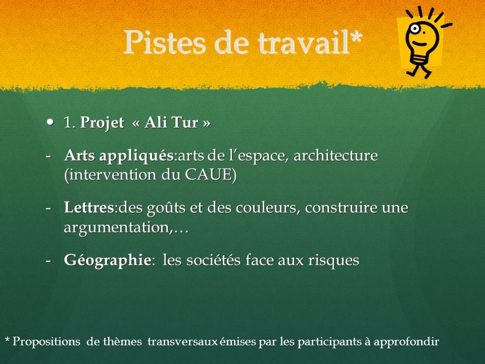 Pistes de travail* 1. Projet « Ali Tur » 1. Projet « Ali Tur » - Arts appliqués :arts de lespace, architecture (intervention du CAUE) - Lettres :des g