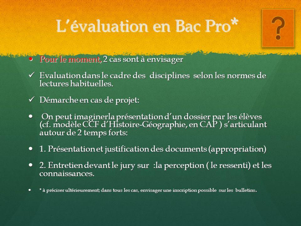 Lévaluation en Bac Pro * Pour le moment, 2 cas sont à envisager Pour le moment, 2 cas sont à envisager Evaluation dans le cadre des disciplines selon