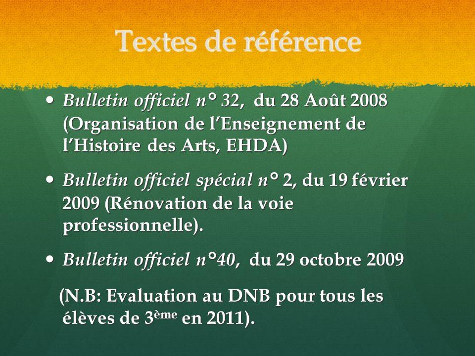 Textes de référence Bulletin officiel n° 32, du 28 Août 2008 (Organisation de lEnseignement de lHistoire des Arts, EHDA) Bulletin officiel n° 32, du 2