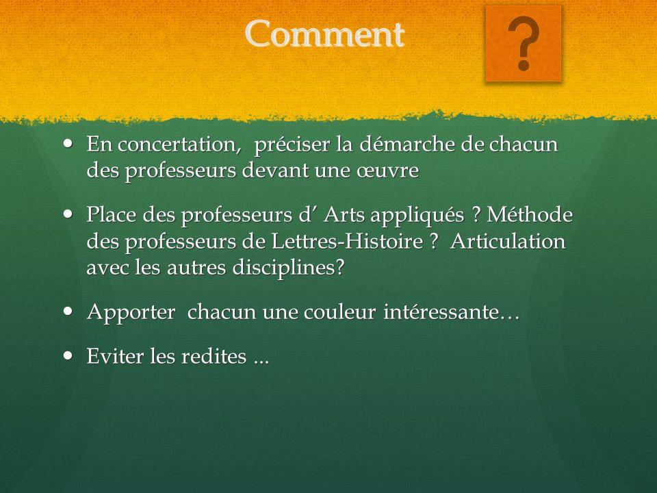 Exemples: Lire « La Joconde » Concilier des focales Lettres-HistoireArts appliqués Réception de lœuvre .