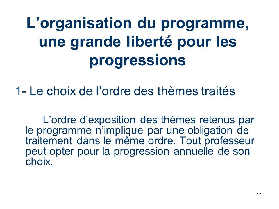 11 Lorganisation du programme, une grande liberté pour les progressions 1- Le choix de lordre des thèmes traités Lordre dexposition des thèmes retenus