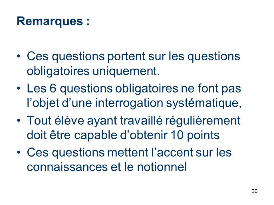 20 Remarques : Ces questions portent sur les questions obligatoires uniquement. Les 6 questions obligatoires ne font pas lobjet dune interrogation sys