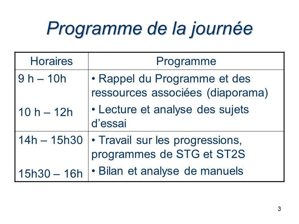3 Programme de la journée HorairesProgramme 9 h – 10h 10 h – 12h Rappel du Programme et des ressources associées (diaporama) Lecture et analyse des su