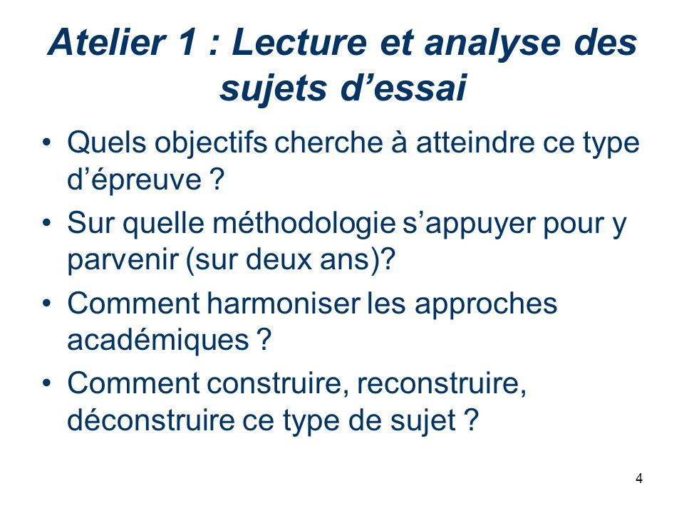 4 Atelier 1 : Lecture et analyse des sujets dessai Quels objectifs cherche à atteindre ce type dépreuve ? Sur quelle méthodologie sappuyer pour y parv