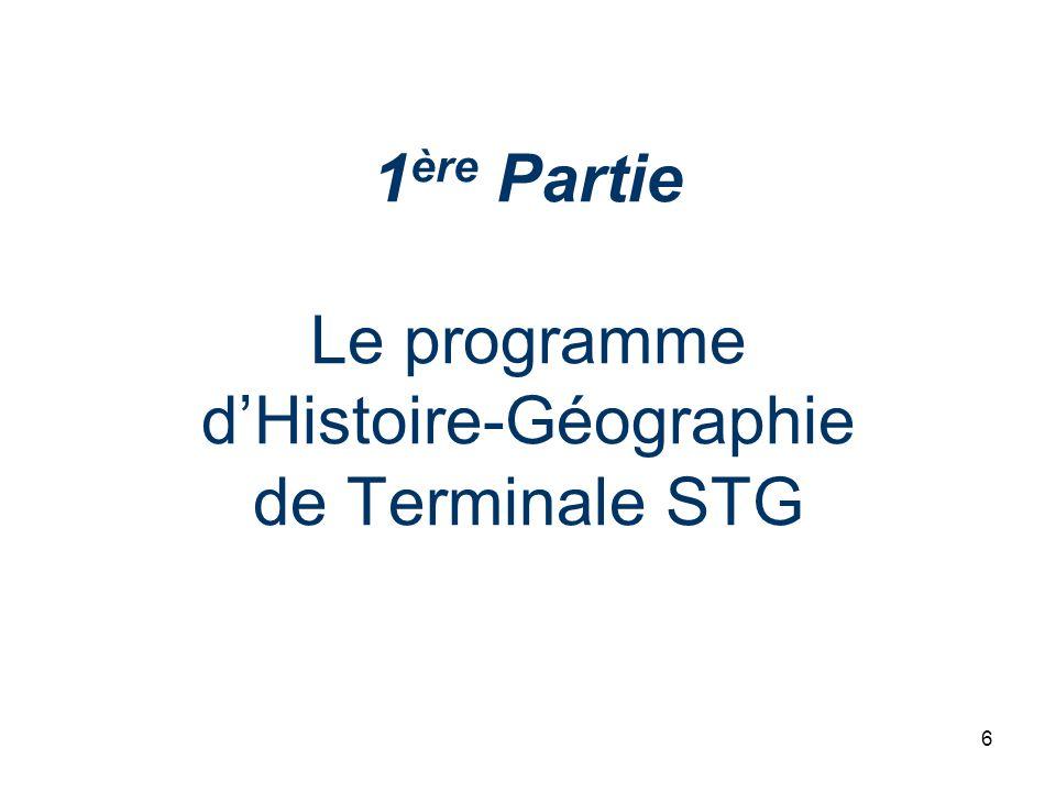 7 Orientations générales LHistoire et la Géographie dans les séries STG