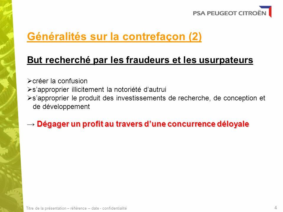 Généralités sur la contrefaçon (2) But recherché par les fraudeurs et les usurpateurs créer la confusion sapproprier illicitement la notoriété dautrui