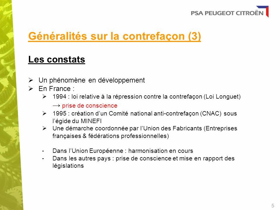 Généralités sur la contrefaçon (3) Les constats Un phénomène en développement En France : 1994 : loi relative à la répression contre la contrefaçon (L