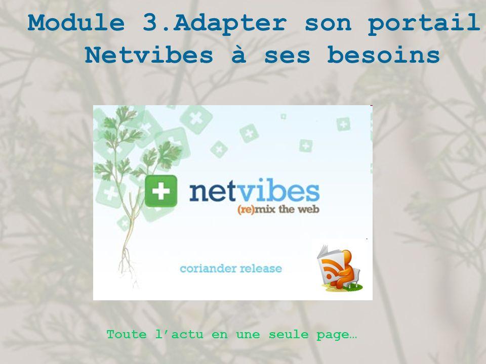 1.Ajouter du contenu Vous composez votre page Netvibes grâce à des modules, aussi appelés widgets.
